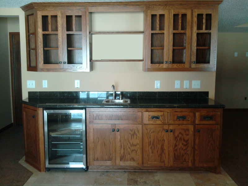 Vernon Hills Basement Wet Bar With Cherry Cabinets